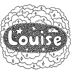 Coloring page for adults with girl s name louise vector