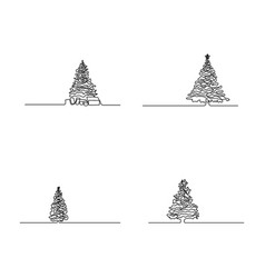 continuous line set christmas tree vector image