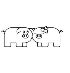 couple of cute pigs icon vector image