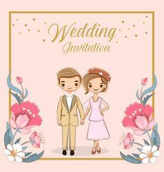 Cute cartoon couple for wedding invitations card vector