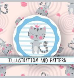 Cute little princess - seamless pattern vector