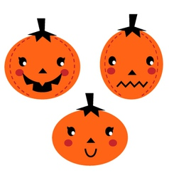 Cute Pumpkin heads isolated on white vector image vector image