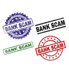 damaged textured bank scam stamp seals vector image