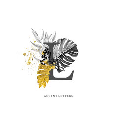 decorated l letter with hand drawn tropical leaves vector image