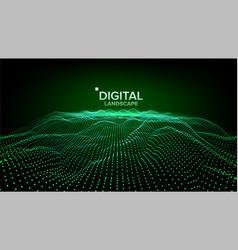 digital landscape data technology wave vector image