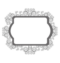 Emblem with ornamental decoration design vector