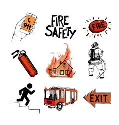 Fire safety and means of salvation Icons set vector image