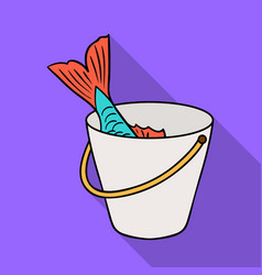 Fish in bucket icon in flat style isolated on vector