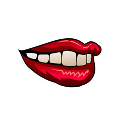 Flat icon of beautiful red female lips vector