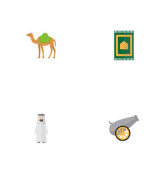 Flat icons prayer carpet artillery dromedary and vector