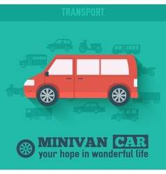 Flat minivan car background concept Tamplate for w vector