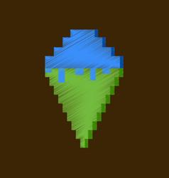 Flat shading style icon pixel ice cream cone vector