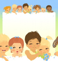Frame with eight babys heads vector