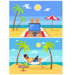 freelancers collection beach vector image