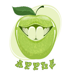 funny apple on white vector image