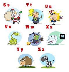 Funny Cartoon Alphabet Collection 3 vector image