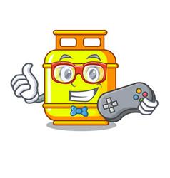 Gamer creative in gas cartoon tank container vector