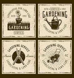 gardening service four vintage emblems vector image