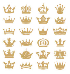 Gold crown silhouette royal crowns coronation vector