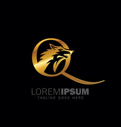 golden wolf initial letter q logo sign vector image