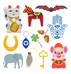 Good luck fortune symbol set - cartoon amulet vector
