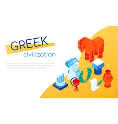 Greek civilization - modern colorful isometric web vector