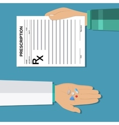 Hands holds a prescription rx form and pills vector