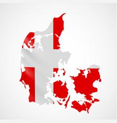 Hanging denmark flag in form of map kingdom of vector