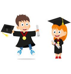 happy graduates kids cartoon vector image