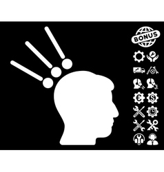 Head test connectors icon with tools bonus vector