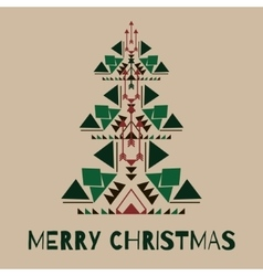 hipster christmas tree in tribal style vector image
