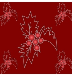 Holly Christmas pattern vector image