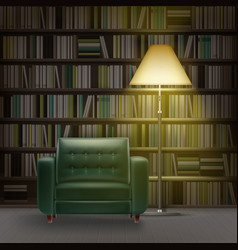 Home library interior vector