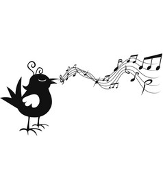 isolated cartoon bird singing with music note vector image