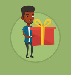 Joyful man holding box with gift vector