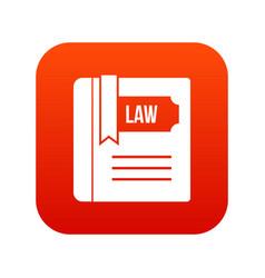 law book icon digital red vector image