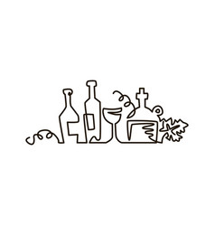 line icon bottles of wine with grape leaves vector image