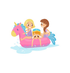 little kids swimming at sea on pink inflatable vector image