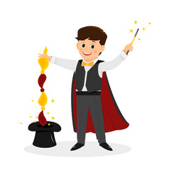 magician with hat and magic wand vector image