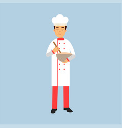 Male chef cook character in uniform holding mixing vector