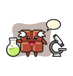 Mascot character chocolate bar as a scientist vector