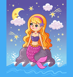 Mermaid sits on a stone above sea and vector