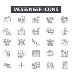 messenger line icons signs set outline vector image