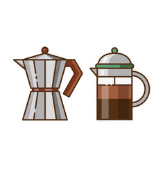 Moka pot and press coffee maker icons vector