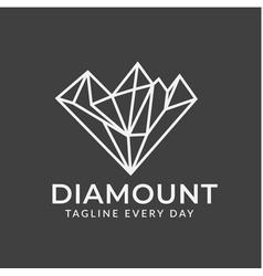 Mountain diamond logo design template vector