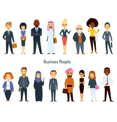 Multi ethnic team business people set vector