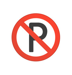 no parking red round sign vector image