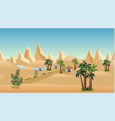 Oasis in desert with bedouin camp landscape vector