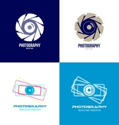 Photography camera logo icon set vector