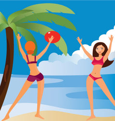 PLAYING-ON-THE-BEACH vector image